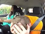 Monster tits fat ebony fucks in car