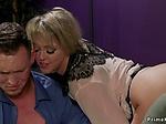 Busty wife anal fucks husband in bondage