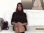 Sexy tanned brunette fuck on interview