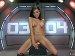 Tanned busty solo babe fucks machine