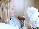 Bunny comes to life feeds Holly Mack a fat cock