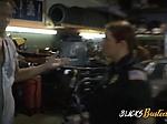 Milf cops make mechanic strip down and bang their cooch