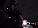 Criminal gets caught breaking and entering by milf cops