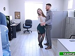 Busty boss motivates employee by sucking and riding his