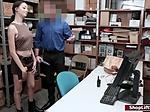 Brunette shoplifter fucks officer for her way out