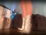 Femdom mesmerize her slave with designer sparkle boots