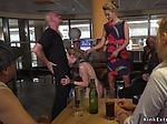 Skinny slut dp banged in public bar