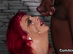 Frisky beauty gets sperm load on her face sucking all t