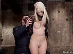 Hogtied blonde gets crotch rope