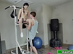 Horny Teen babe sucks and fucks hunk guy in the gym