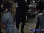 Perverted milf cops suck and fuck on suspects BBCs