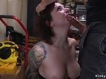 Big dude anal fucks busty babe in bondage