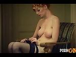 Hot redhead masturbates as she walks around her apartme