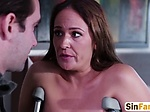 Brunette milf with big tits gets banged in bedroom