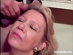 Mature wife is getting a big facial