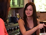 Young brunette licked by cooking te...